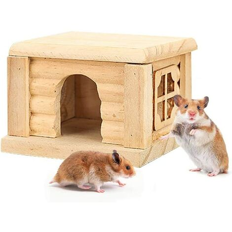 Wooden Hamster House, Gerbil House, Wooden House for Mice Hamsters Gerbil Home, Small Animal Nest Toy Flat Top Guinea pigs bedroom