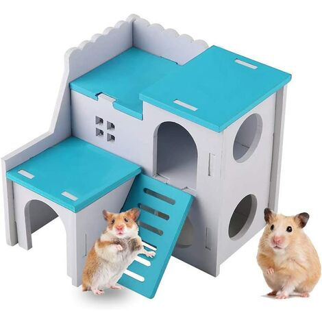 Wooden Hamster House, Small Animal Hideaway, Ladder Equipped, Two-Storey Hamster, Chinchilla, Cat, Gerbil and Mouse (Blue)