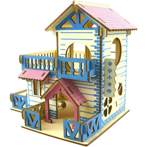 Wooden hamster Two-story playground Pet staircase Hamster house Two-story villa balcony small pet staircase tunnel toy small animal play area