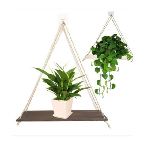Wooden Hanging Swing Rope Floating Shelf Jute Rope Hanging Plant Holder Decoration (Coffee, L 45x14cm)