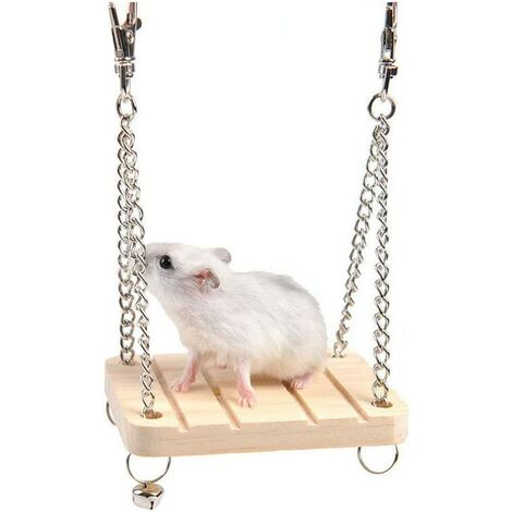 Wooden house hamster toy wooden hamster squirrel mouse small pet hamster toy swing wooden hammock small animal parrot hanging platform wooden suspension bridge