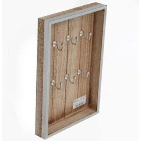 Wooden Key Cabinet with Silver Detail