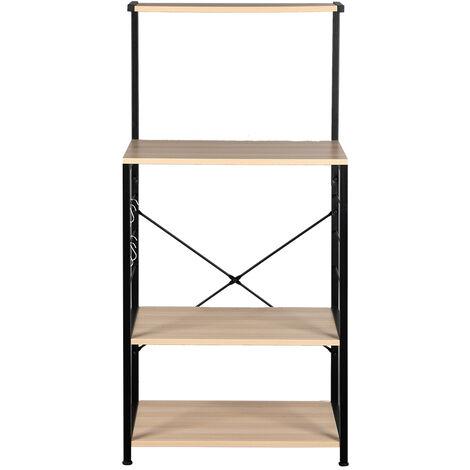 Wooden Kitchen Shelf , Baker's Rack 4 Tier Shelves Brown Color
