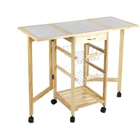 Wooden kitchen trolley £¬ Kitchen trolley with wheels £¬ 91 * 37 * 75cm