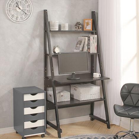 Wooden Ladder Laptop Computer Desk PC Table Workstation W/ Storage Display Shelf
