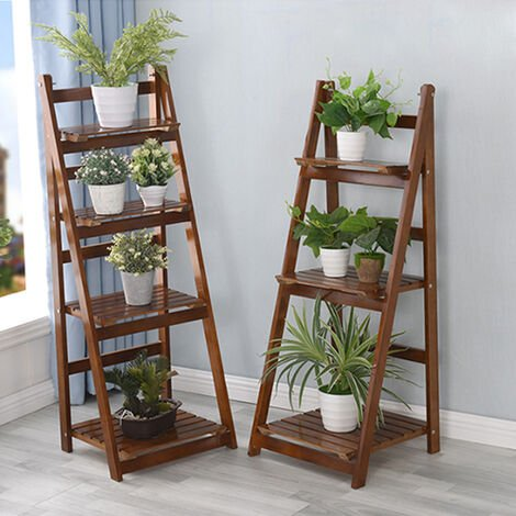 "main image of ""Wooden Ladder Shelf Bookshelf Plant Pot Stand Storage Display"""