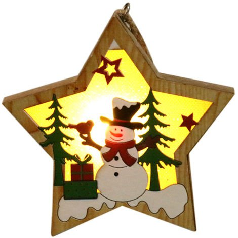 Wooden Lighting Pendant Christmas Tree Decoration