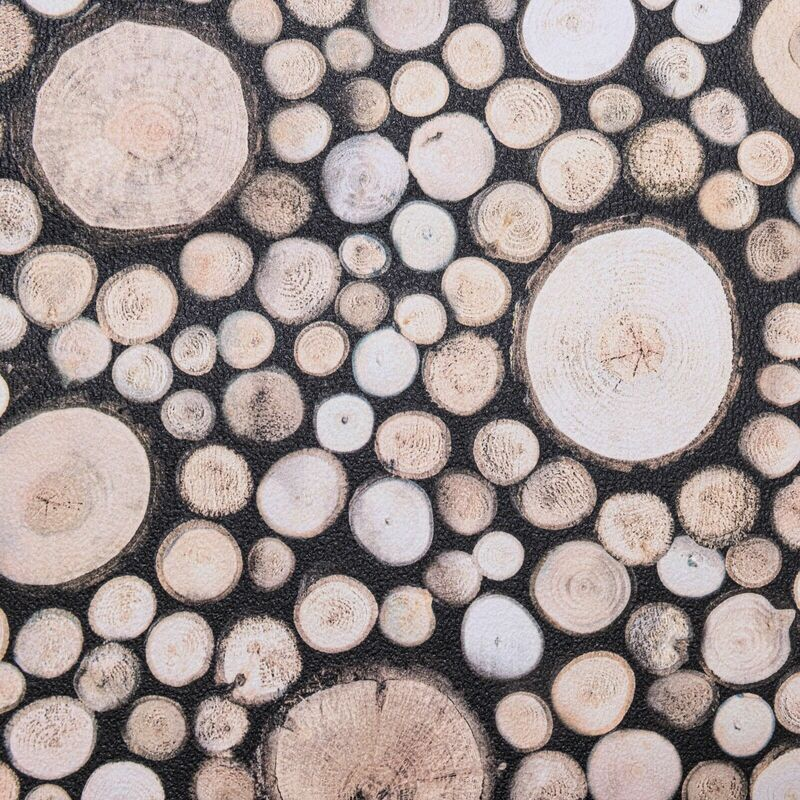 Image of Wood Logs Stacked Feature Wallpaper Textured Thick Realistic Wooden Log Effect