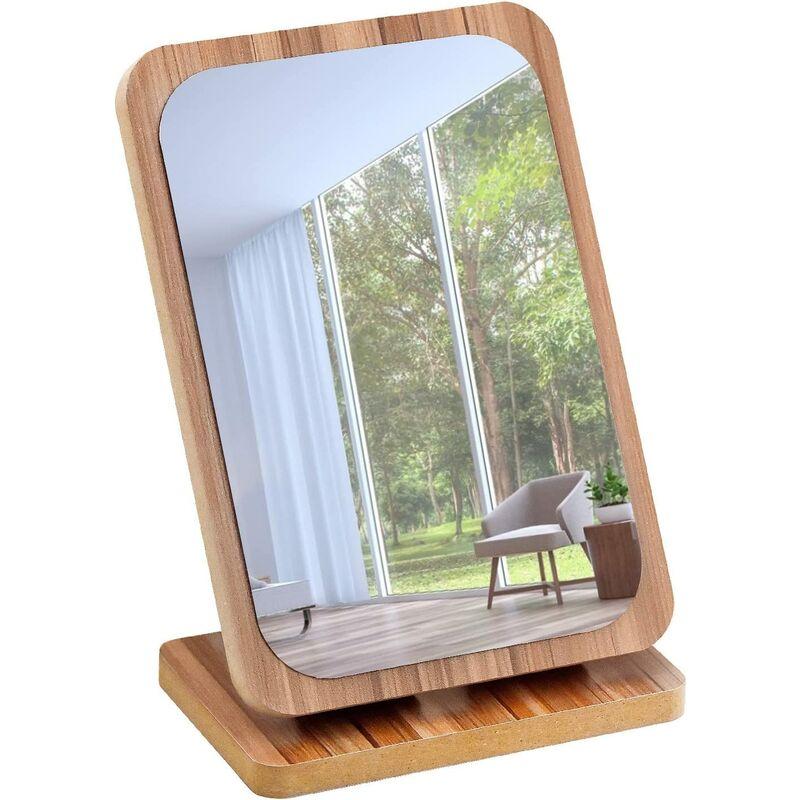 Wooden Makeup Mirror Wooden Table Mirror Portable Desktop Mirror Cosmetic Mirror with Wooden Frame ?Rectangle?