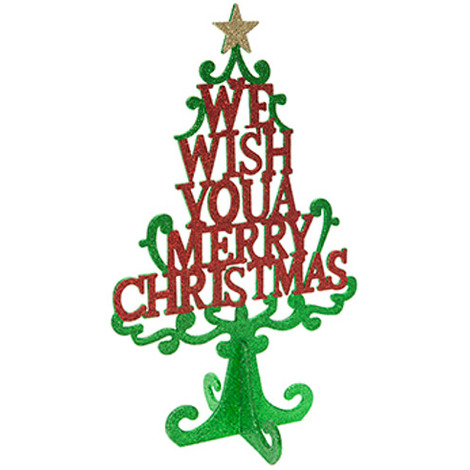 """main image of """"Wooden Merry Christmas Tree in Red and Green"""""""