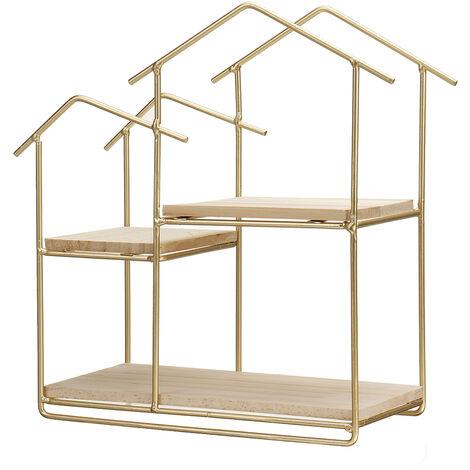 Wooden Metal Floating Shelf Wall Mounted Storage Display Rack Golden color