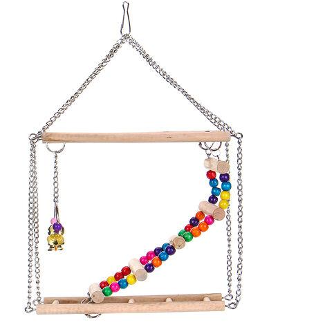 Wooden Parrots Bird Hanging Ladder Swing Bridge Climb Pet Toys Hanging Ladder