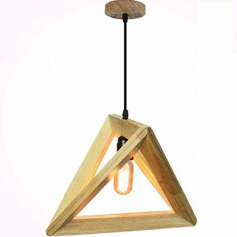 Wooden Pendant Light Natural Wooden Ceiling Lamp Creative Modern Pendant Lamp LED E27 Socket Triangle Hanging Lamp