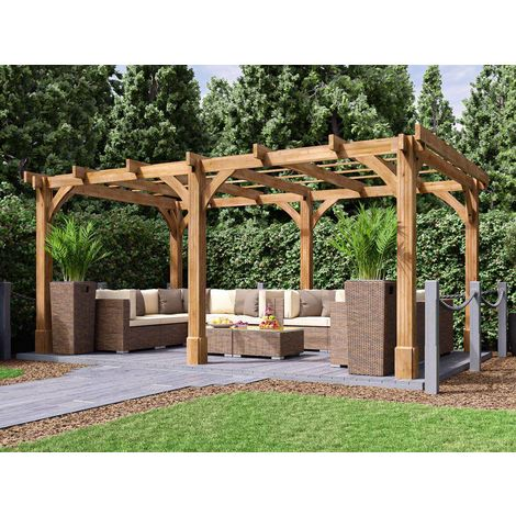 Wooden Pergola Garden Canopy Shade Plant Frame Furniture Kit - Artemis 5m x 3m