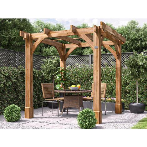 Wooden Pergola Garden Canopy Shade Plant Frame Furniture Kit - Atlas 2.3m x 2.3m