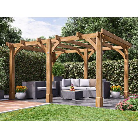Wooden Pergola Garden Canopy Shade Plant Frame Furniture Kit - Atlas 4m x 3m