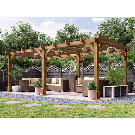 Wooden Pergola Garden Canopy Shade Plant Frame Furniture Kit - Atlas 6m x 3m