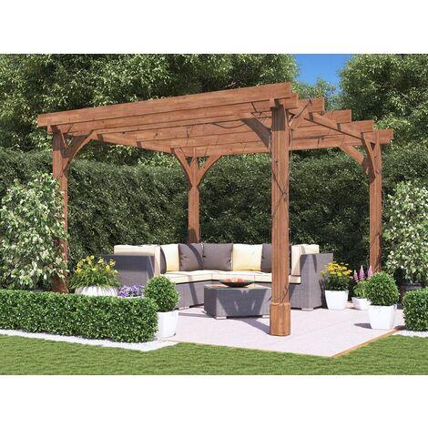 "main image of ""Wooden Pergola Garden Shade Plant Frame Furniture Kit - Atlas 3m x 3m"""