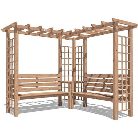 Wooden Pergola Gerlinde - Arbour Garden Arch Corner Bench Trellis Seating with Armrests and Mini Corner Table