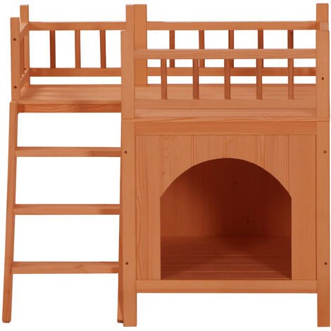 """main image of """"Wooden pet dog cat house outdoor/indoor luxury cat dog living house with staircase balcony (Orange Red) - Orange Red"""""""
