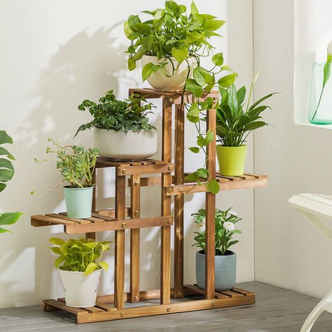 Wooden Plant Pot Shelf Stand Garden Display Rack