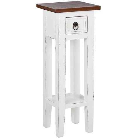 Wooden Plant Stand White with Brown DAPP