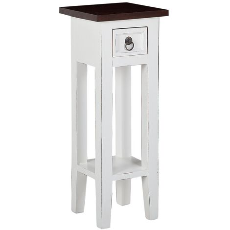 Wooden Plant Stand White with Dark Brown DAPP