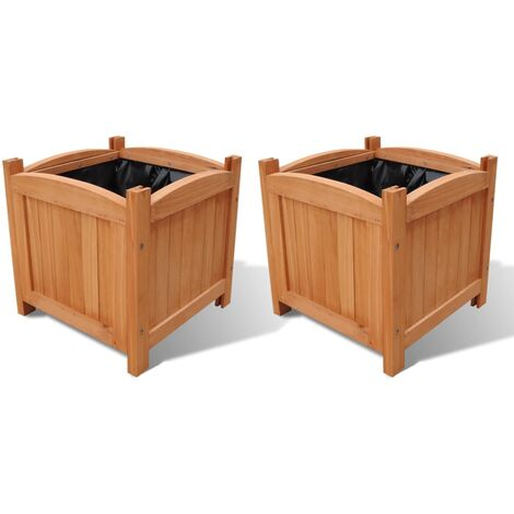 Wooden Planter 30 x 30 x 30 cm Set of 2