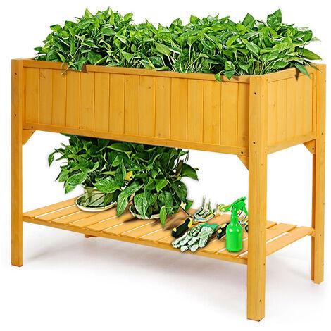 Wooden Planter Shelf Vegetable Flower Garden Bed With Weeding Bag