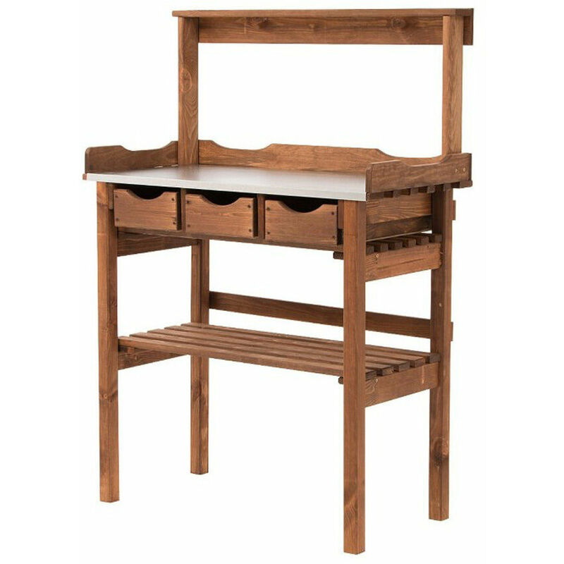 Wooden Potting Bench Garden Planting Table Greenhouse Work Station Patio  Storage