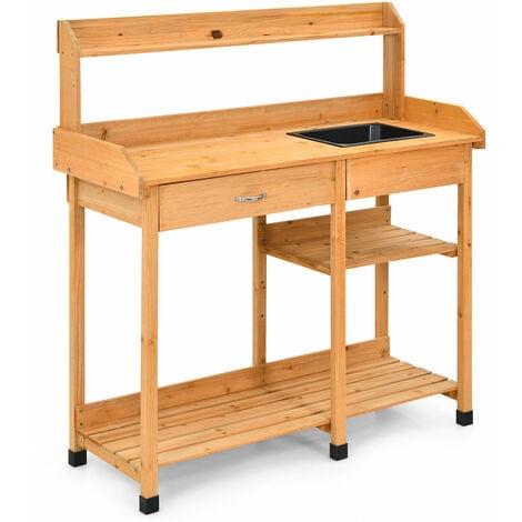 "main image of ""Wooden Potting Bench Outdoor Garden Plant Workstation W/ Sink Drawer & Hook"""