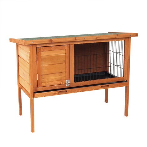 Wooden Rabbit Hutch Guinea Pig Cage Run w/ Cleaning Tray Grey/Brown
