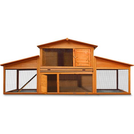 """main image of """"Wooden Rabbit Hutch Large Guinea Pig Animal Cage XXL - Double Decker Hutch and Run"""""""
