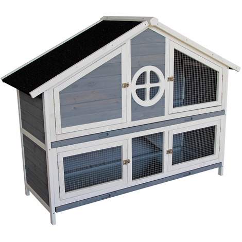 Wooden Rabbit Hutch Rabbit House Bunny Cage Outdoor Enclosure Animal Hideaway 144 x 57.5 x 110 cm