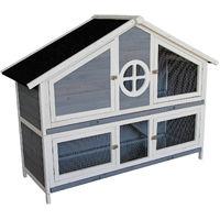 Wooden Rabbit Hutch Rabbit House Bunny Cage Outdoor Enclosure Animal Hideaway 144 x 57.5 x 110 cm