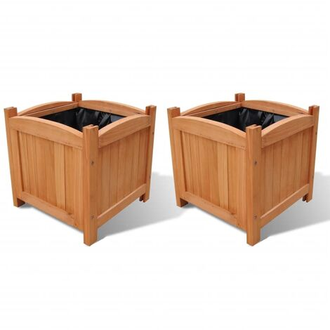 Wooden Raised Bed 30 x 30 x 30 cm Set of 2
