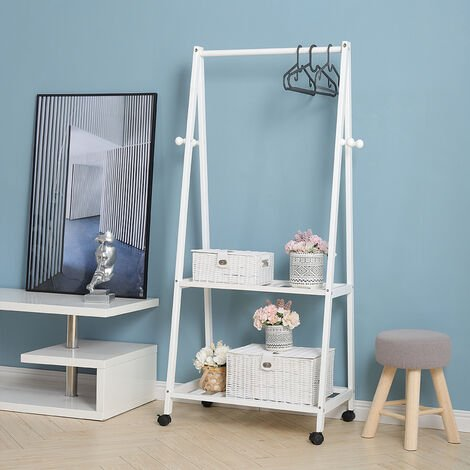 Wooden Rolling Clothes Rail With 2 Tier Storage Shelf