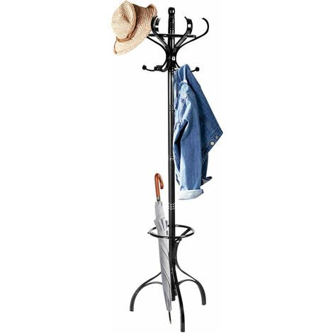 Wooden Rotating Coat Hat Hanger Free Standing Hallstand Umbrella Stand 12 Hooks