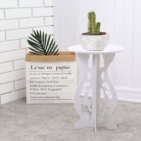 Wooden Round Coffee Table Side Table Plant Stand
