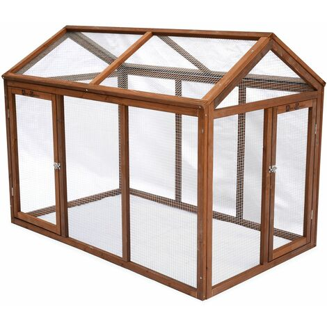 Wooden run hucth for 3 chickens, CHABO, hen house with enclosure