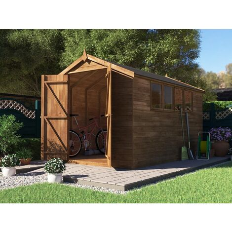 Wooden Shed Birgi - Garden Tool Storage Fully Pressure Treated With Shiplap Cladding and Roof Felt