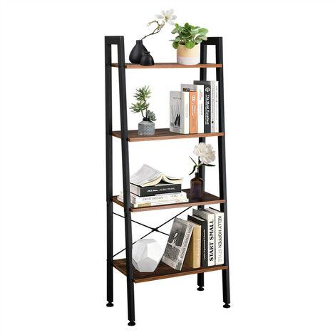 Wooden Shelf Ladder with Metal Frame, 4 Tier Storage Unit, Bookshelf Plant Flower Stand Shelves for Indoor Living Room Bedroom Office Balcony (Rustic Brown)