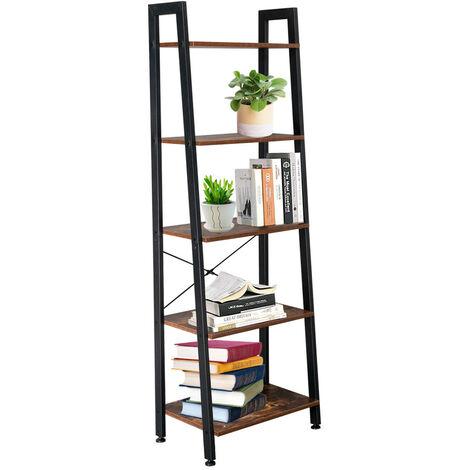 Wooden Shelf Ladder with Metal Frame, 5 Tier Storage Unit, Bookshelf Plant Flower Stand Shelves for Indoor Living Room Bedroom Office Balcony (Rustic Brown)