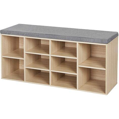 Wooden Shoe bench Storage Cabinet Rack Hallway Cupboard Organizer with Seat Cushion 104 x 30 x 48cm Natural/White