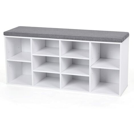 """main image of """"Wooden Shoe bench Storage Cabinet Rack Hallway Cupboard Organizer with Seat Cushion 104 x 30 x 48cm Natural/White"""""""
