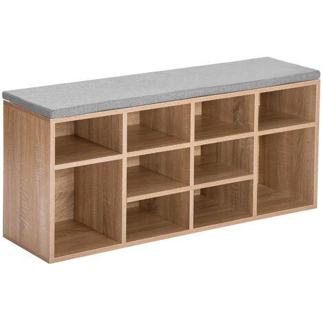 Wooden Shoe Bench Storage Shoe Cabinet Rack Hallway Cupboard Organizer with Seat Cushion 104 x 30 x 48 cm(W x D x H) (Natural, 10-Grids)