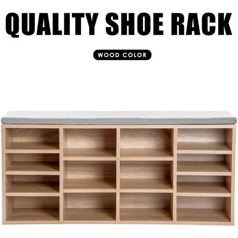 Wooden Shoe Bench Storage Shoe Cabinet Rack Hallway Cupboard Organizer with Seat Cushion 104 x 30 x 48 cm(W x D x H) (Natural, 14-Grids)