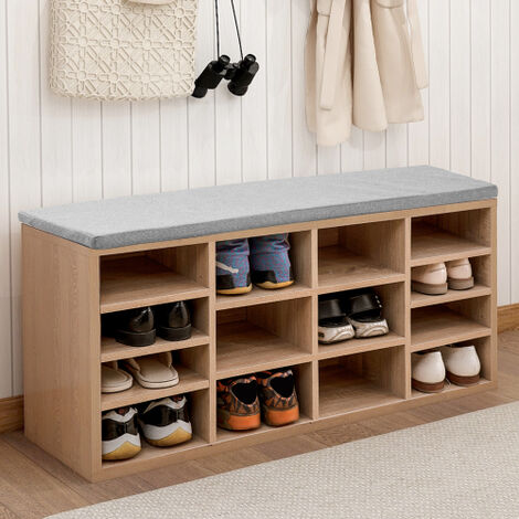 Wooden Shoe Bench Storage Shoe Cabinet Rack Hallway Cupboard Organizer with Seat Cushion 104 x 30 x 48 cm(W x D x H) (Natural, 14-Grids)