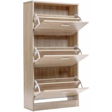 Wooden Shoe Bench Storage Shoe Cabinet Rack Hallway Cupboard Organizer with Seat Cushion 104 x 30 x 48 cm(W x D x H) (Natural, 14-Grids) YCTD00335