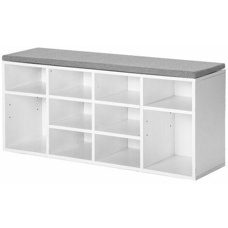 Wooden Shoe Bench Storage Shoe Cabinet Rack Hallway Cupboard Organizer with Seat Cushion 104 x 30 x 48 cm(W x D x H) (White, 10-Grids)